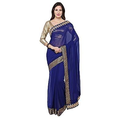 0d85a19cc9 Amazon.com: Taadrashya women's Georgette saree (TDS SAREE BLUE COBRA ...