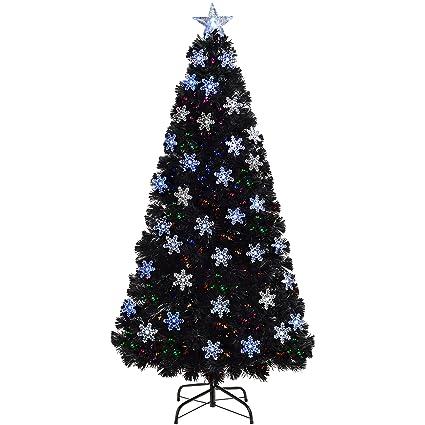 Werchristmas Pre Lit Fibre Optic Christmas Tree With Tree Topper And Snowflakes Black 7 Feet 2 1 M
