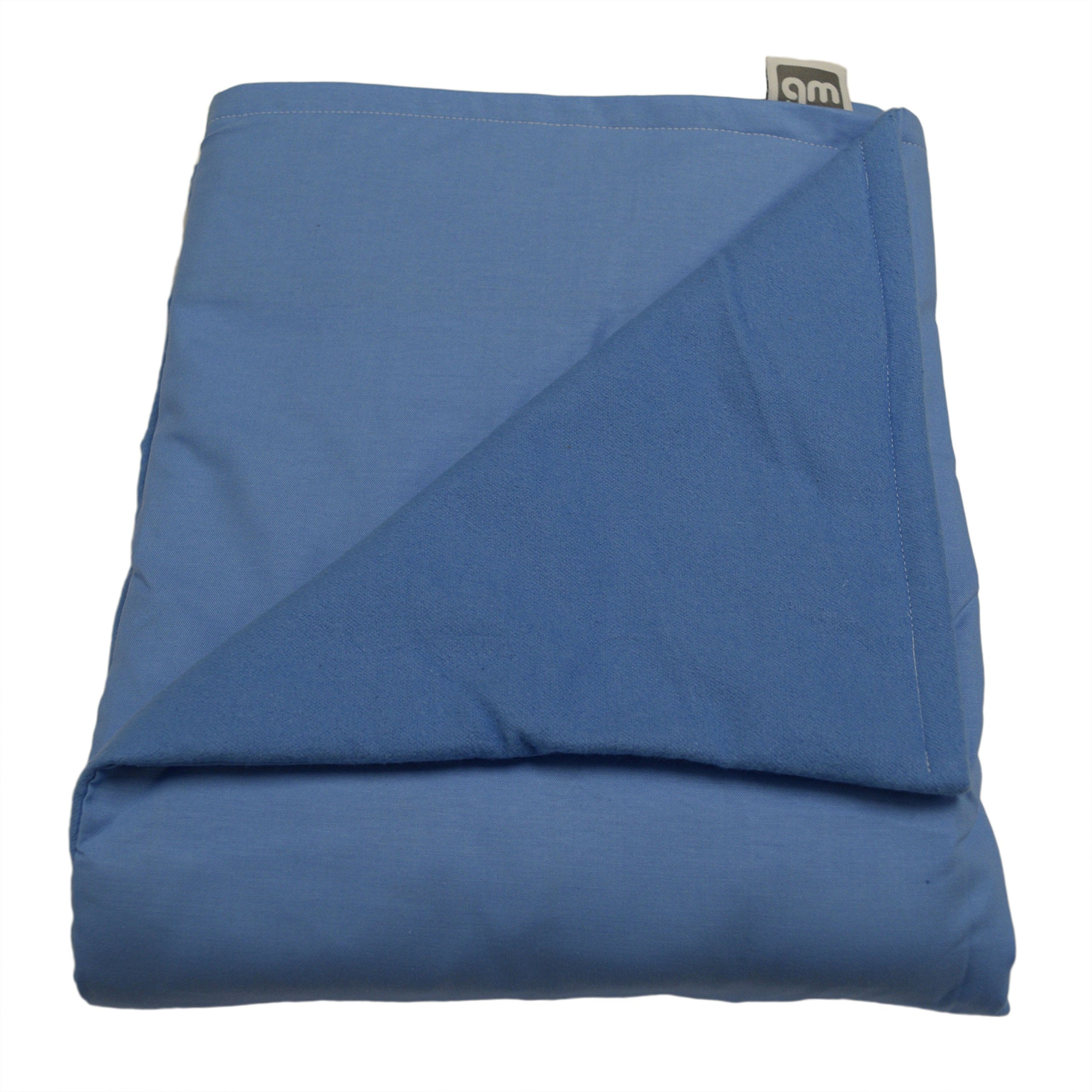 WEIGHTED BLANKETS PLUS LLC - Made in America - Child Deluxe Small Weighted Blanket - Light Blue - Cotton/Flannel (52'' L x 40'' W) 7lb HIGH Pressure.