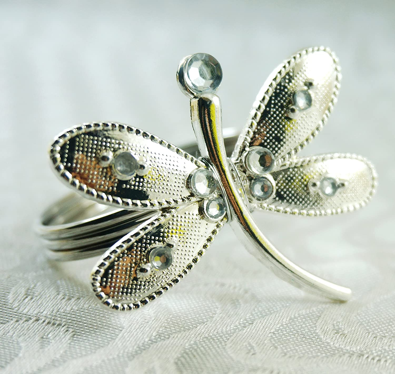 qn16091902シルバークリスマスDragonflyナプキンリング、結婚式ナプキンリング、ナプキンホルダー12個セット   B01M2VEWFN