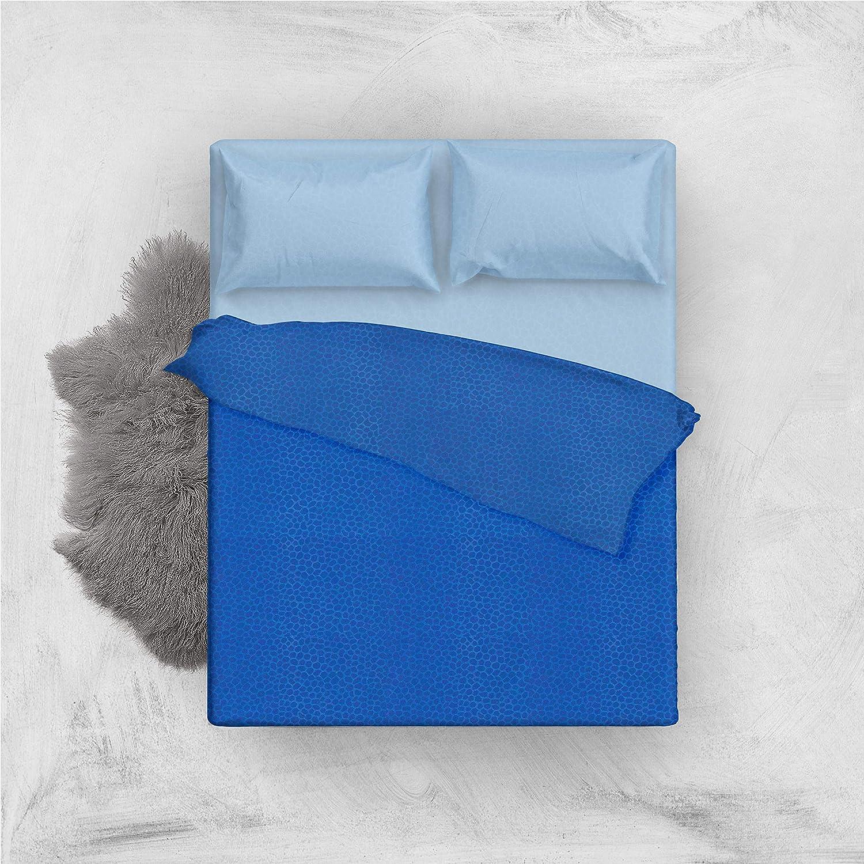 LANTICO ARCOLAIO Set Completo Letto Lenzuola Microfibra No Stiro Bicolore Jaquard Blu//Azzurro, Una Piazza E Mezza