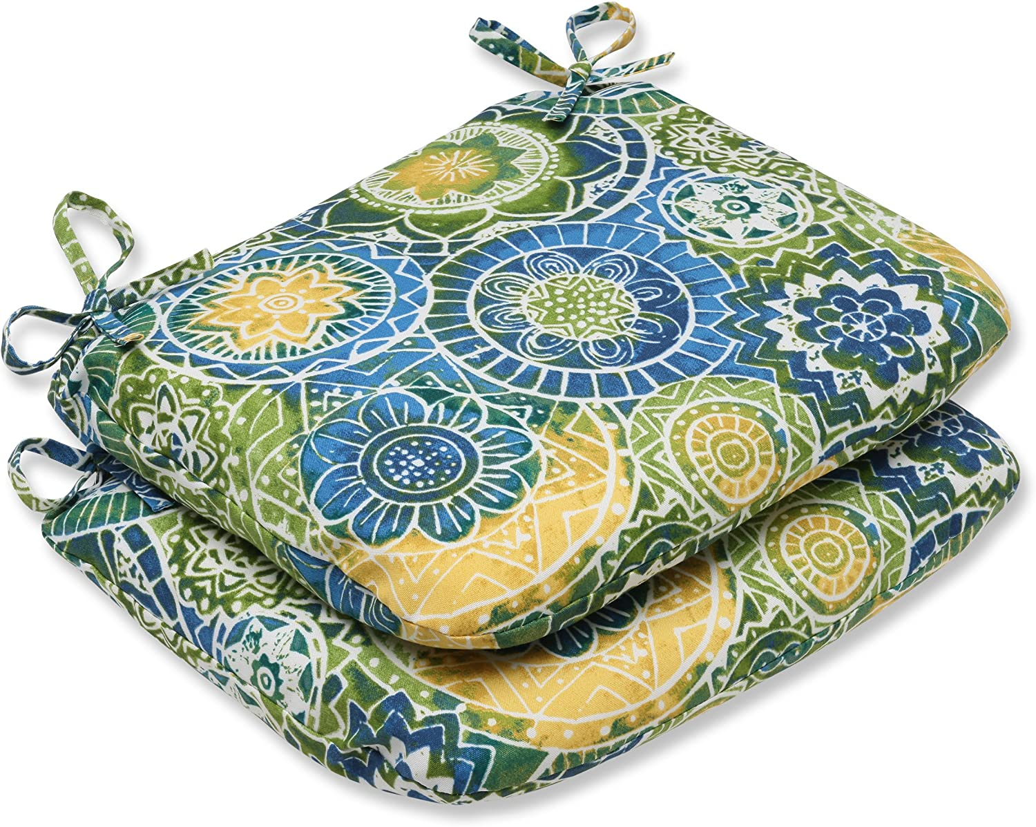 Pillow Perfect Outdoor Omnia Lagoon Rounded Corners Seat Cushion, Set of 2