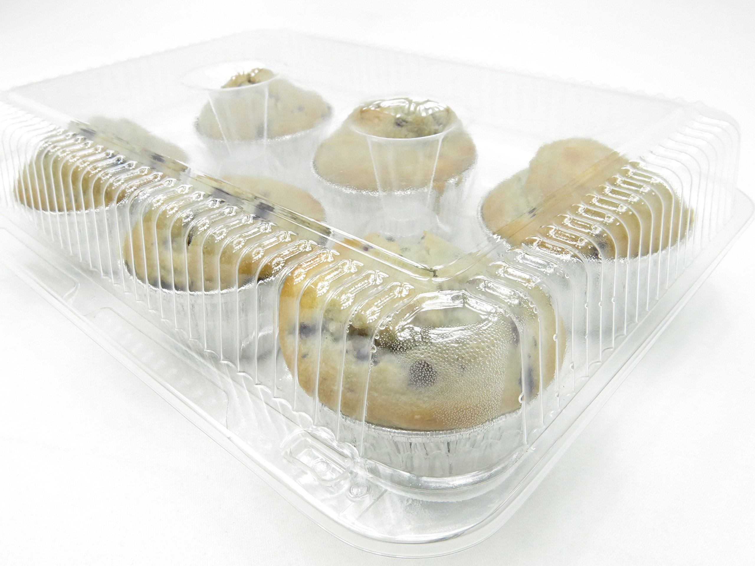 6 Cell Clear Locking Hinged Large Cupcake/Muffin and Bakery Containers #CPC-76 (150) by Inline Plastics (Image #3)