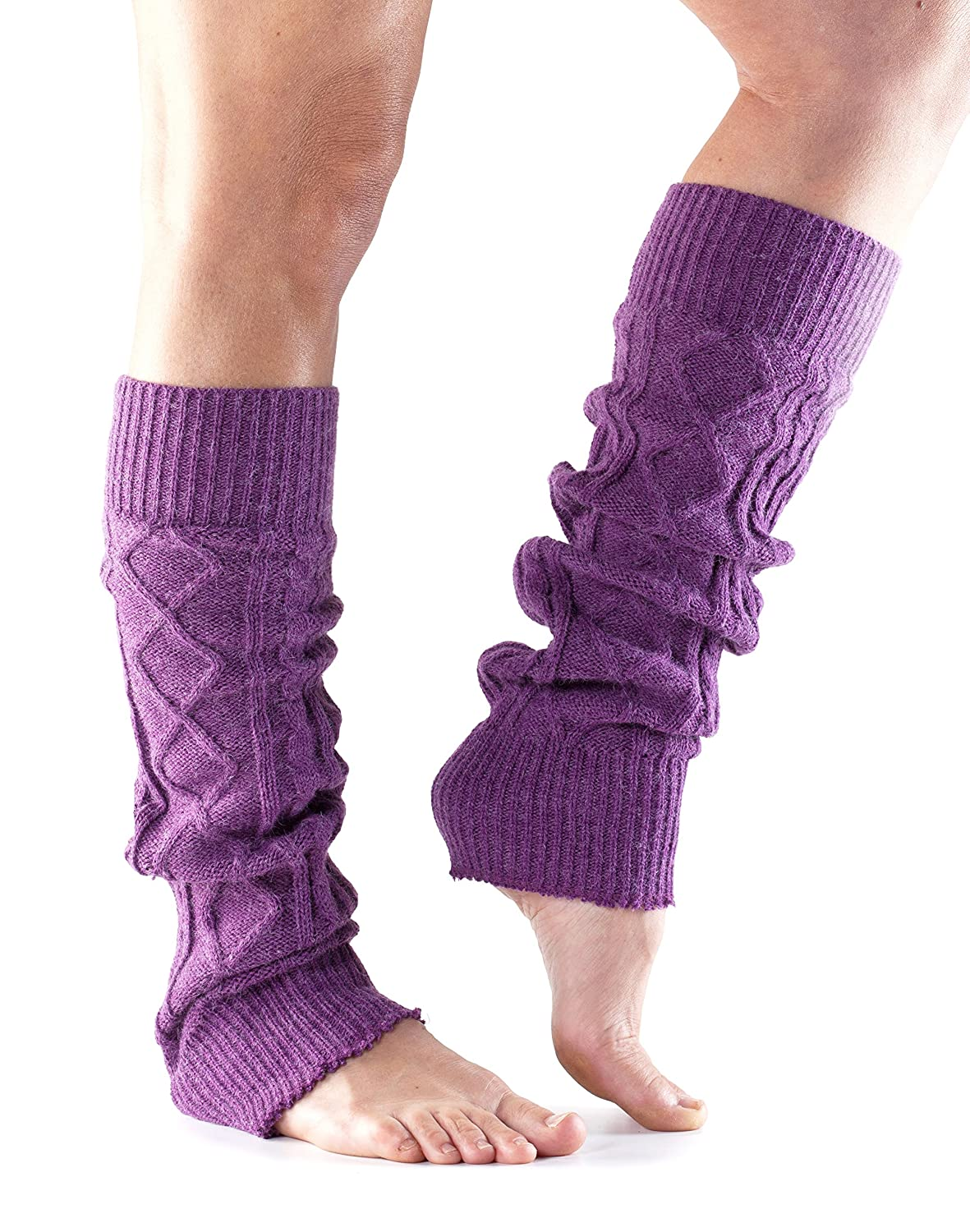 Toesox Women's Knee High Cable Knit Leg Warmers for Yoga & Dance Black ONE SIZE