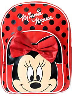 Disney Minnie Mouse Backpack With 3d Satin Nylon Bow Backpack