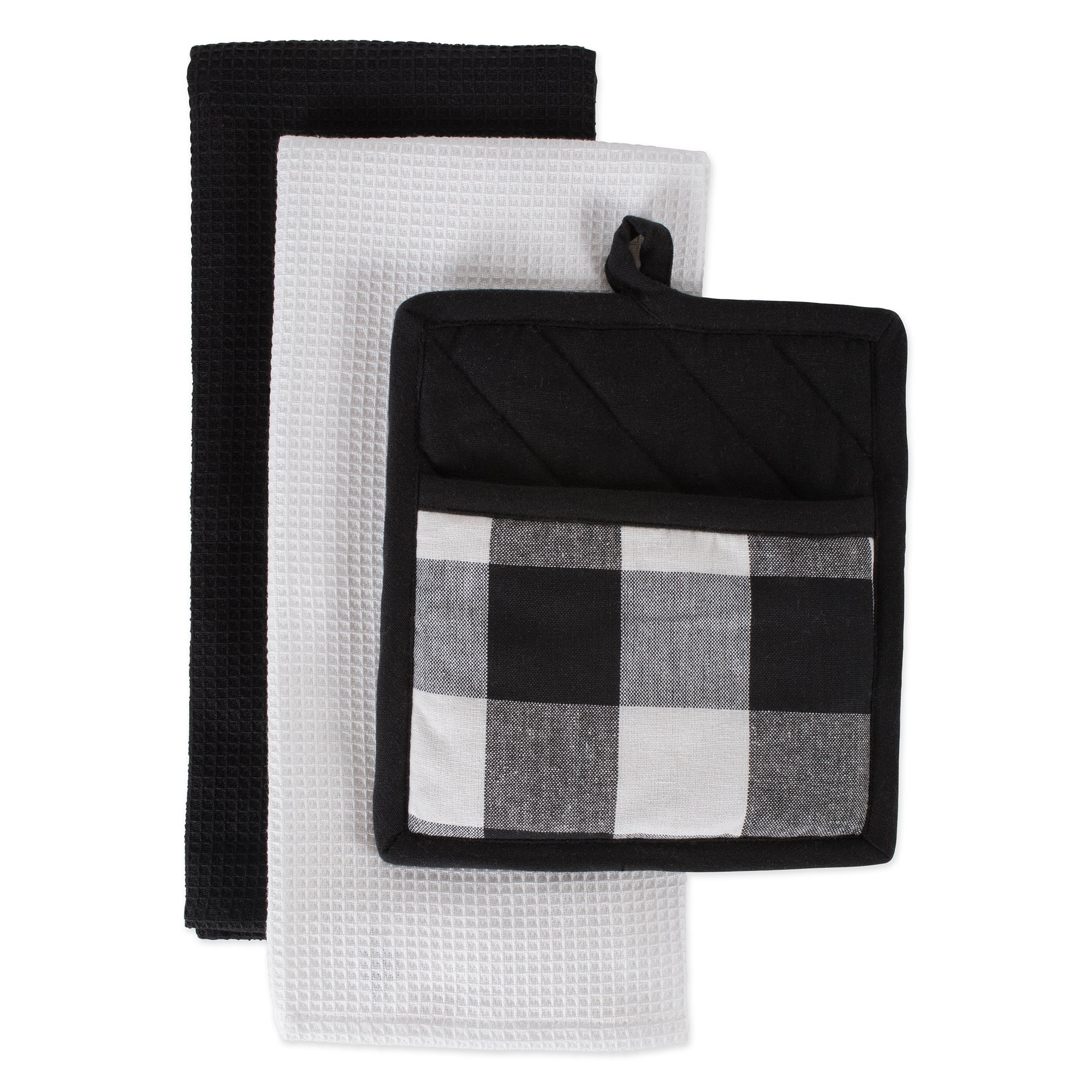 DII CAMZ10891 Cotton Buffalo Check Plaid Gift Set, Machine Washable, Perfect for Everyday Kitchen Cooking and Baking, Dishtowel 18X28 and Potholder 8X9, Black 3 Pieces
