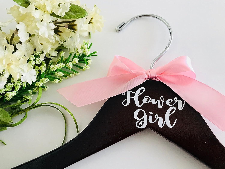 Amazon.com: Mahogany Flower Girl Dress Hanger with Pink Satin Bow ...
