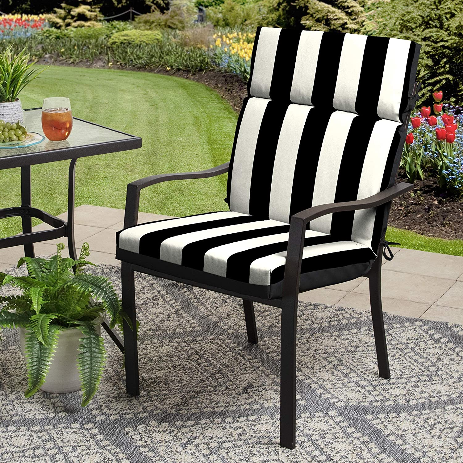 Better Homes & Gardens 44 x 21 inch Outdoor Chair Cushion - Black and White Stripe