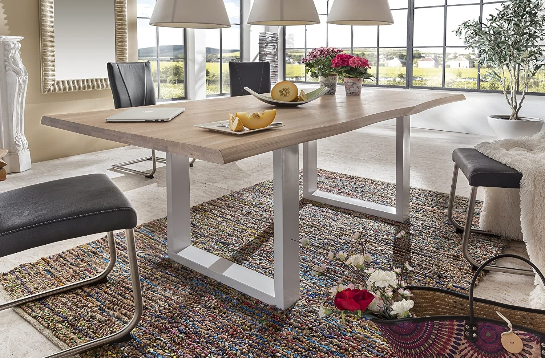 Baumtisch Tisch Esstisch 'Kopenhagen' 180x100cm Wildeiche massiv bianco Holz hell