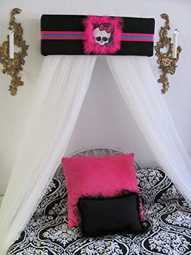 MONSTER HIGH SKULL Bed Canopy teester cornice valance window treatment with White sheer curtains for Bedroom custom made by So Zoey Boutique SALE