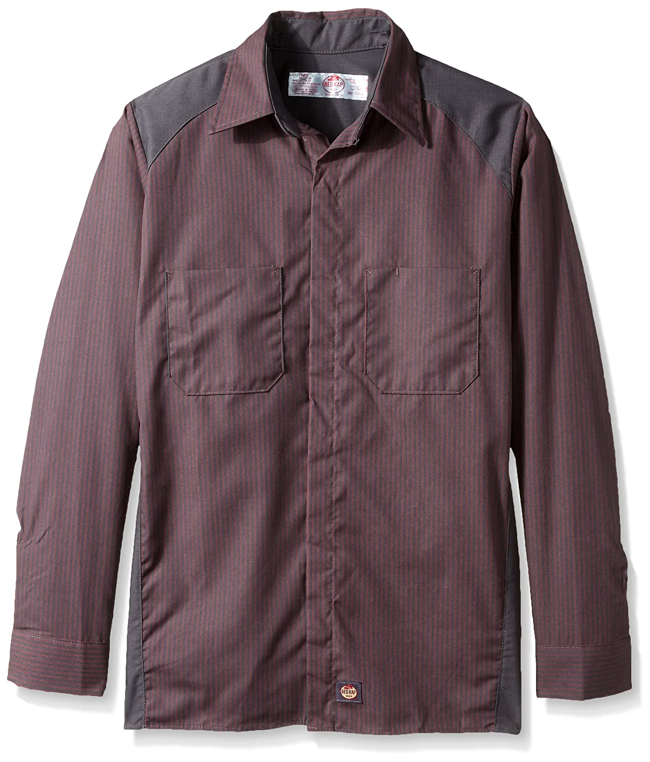 Red Kap SHIRT メンズ B072ZSZGGW Small|Red/Charcoal Stripe With Charcoal Contrast Red/Charcoal Stripe With Charcoal Contrast Small