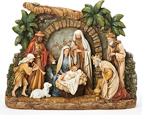 Joseph s Studio by Roman – Nativity Figure with Facade, Christmas Scene with Holy Family, Three Kings, Shepherd and Barn Animals, 10.25 H, Resin and Stone, Decorative