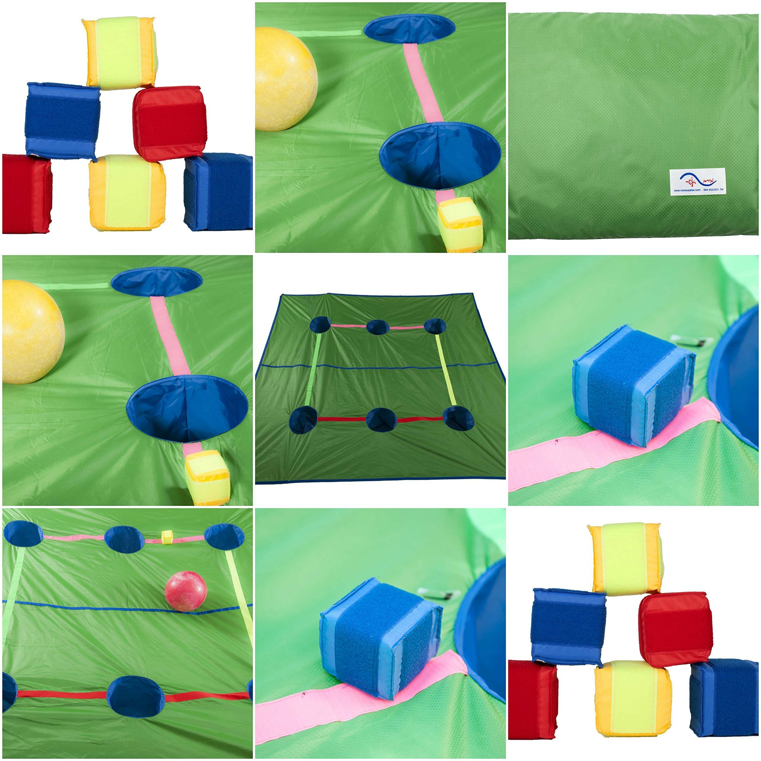 Merav Asher's Cooperative multitask baskets Tarp Parachute + 4 hook and loop compatible cubes, School sports equipment, preschool educational game