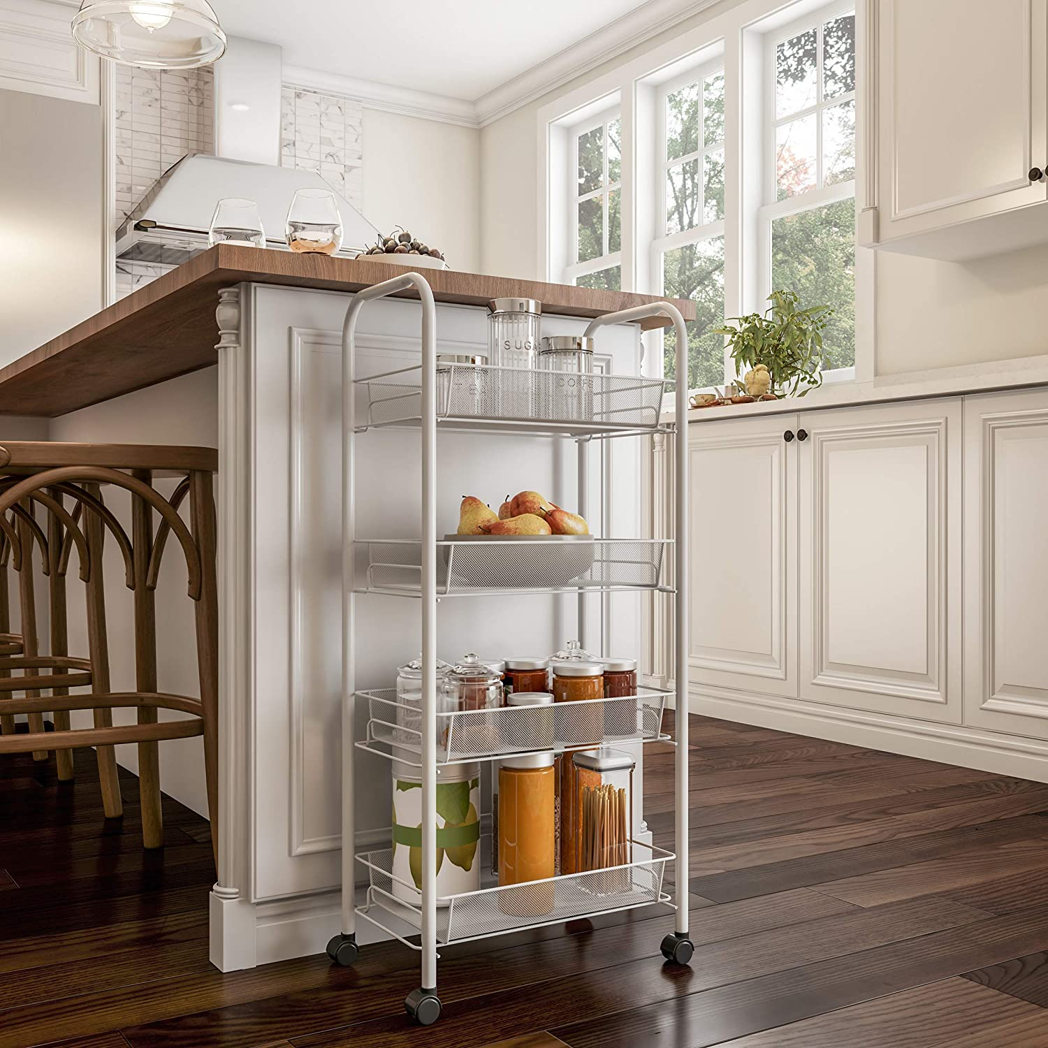 Lavish Home 4-Tiered Narrow Rolling Storage Shelves-Mobile Space Saving Utility Organizer Cart for Kitchen, Bathroom, Laundry, Garage or Office