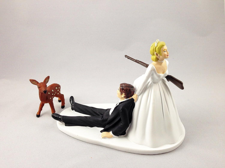 Amazon.com: Funny Hunting Wedding Cake Topper - Baby Deer Hunting ...