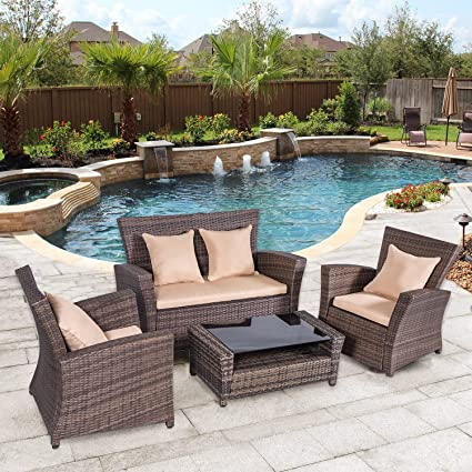 Stamo Outdoor Wicker Rattan Conversation Set, Patio Furniture Glass Top  Table Thick Cushions Throw Pillows