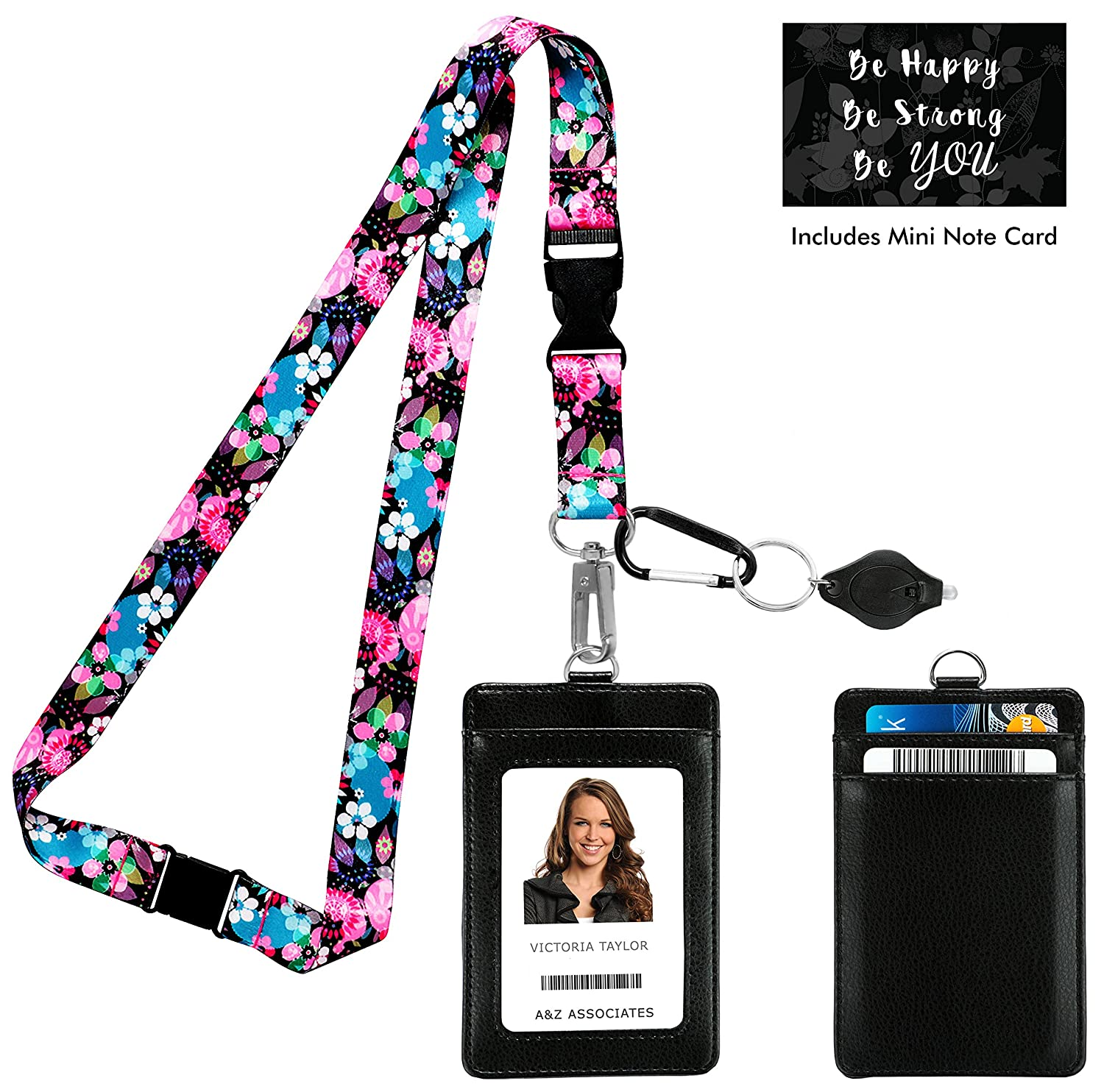 Wild Flowers Blossom Print Lanyard with PU Leather ID Badge Holder with 2 Card Holder Pockets, Safety Breakaway Clip. Free Gift of Carabiner Keychain Flashlight. Lanyard for cruise, work and trips. One In A Millionaire