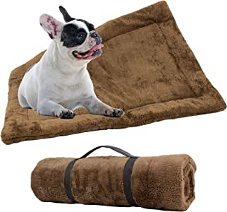 Downtown Pet Supply Self-Heating Thermal Crate Mats with Handle, Warming Kennel Pads for Dogs, Cats, and Pets (Brown, Small)