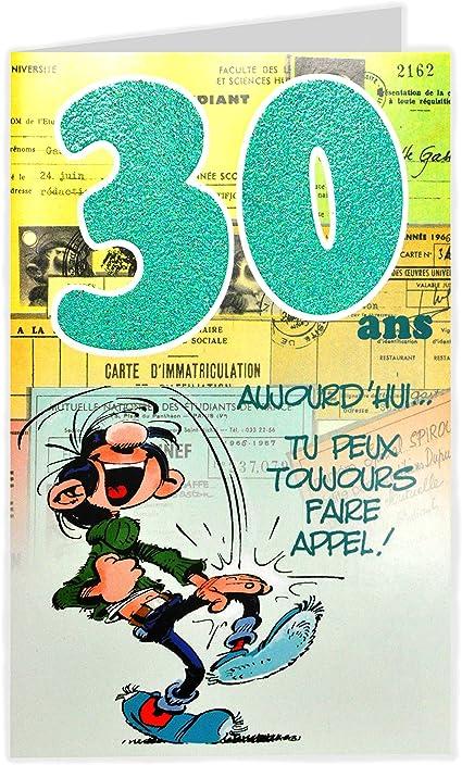 Gaston Lagaffe Glct6024 Bon Anniversaire 30 Ans Homme Femme Avec Enveloppe Illustree Assortie Amazon Fr Fournitures De Bureau