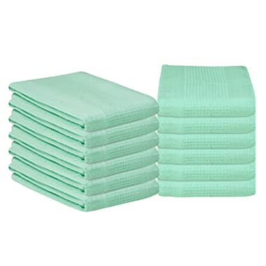 Glamburg 100% Cotton Kitchen Towel 12-Pack 18x28 Waffle Weave Kitchen Dish Towels or Cleaning Towels - Highly Absorbent & Quick Dry - Aqua