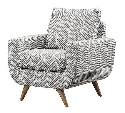 Etonnant Homelegance Deryn Arm Chair With Tufted Back, Gray Herringbone Fabric