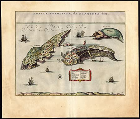 Antique MapISOLE TREMITIISLANDSADRIATIC SEAITALYBlaeu1662