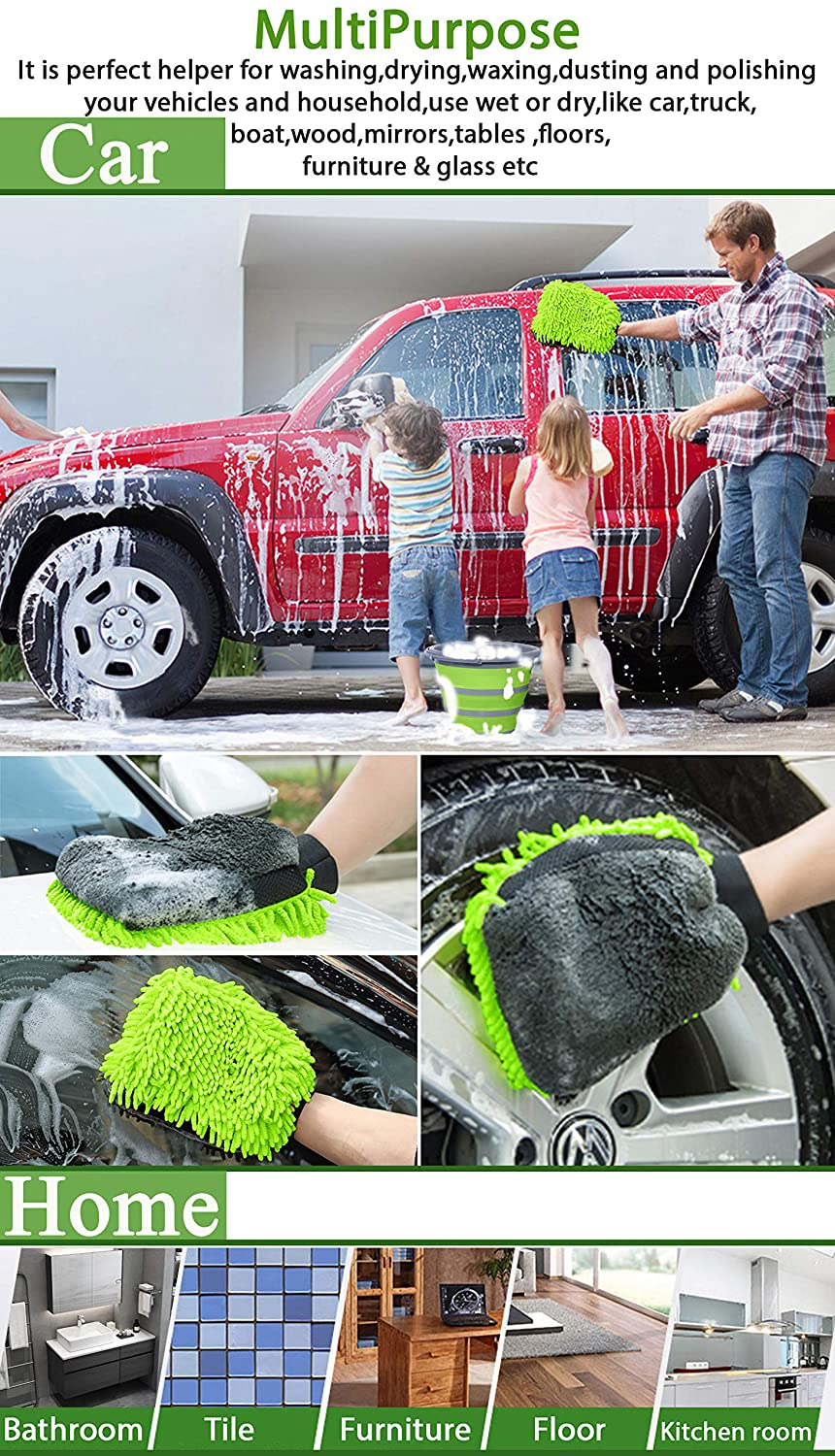GreatCool 3 in 1 Car Wash Mitt Lint Free Scratch Free Not Hurt Paint Glove Sponge Soap Towel Clean Tools Kits for Car Auto Household Home Kitchen Cleaning Coral Velvet Chenille Microfiber Weave