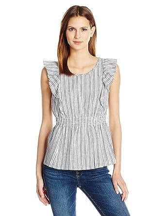 792a7ffafc8575 GUESS Women s Sleeveless Rhona Ruffle Top at Amazon Women s Clothing store