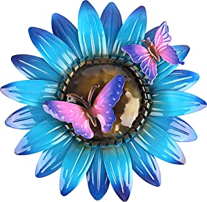 John's Studio Flower Wall Decor Outdoor Metal Sunflower Hanging Art Garden Floral Theme Decorations for Home, Pool and Patio - Blue