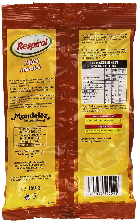 Respiral Miel Mentol Caramelo Duro Refrescante - 150 g: Amazon.es: Amazon Pantry