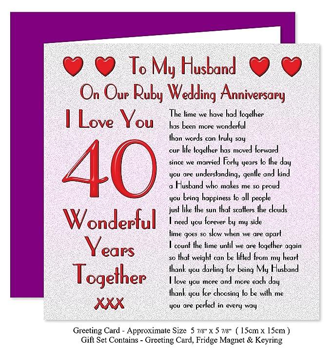 My Husband 40th Wedding Anniversary Gift Set Card Keyring