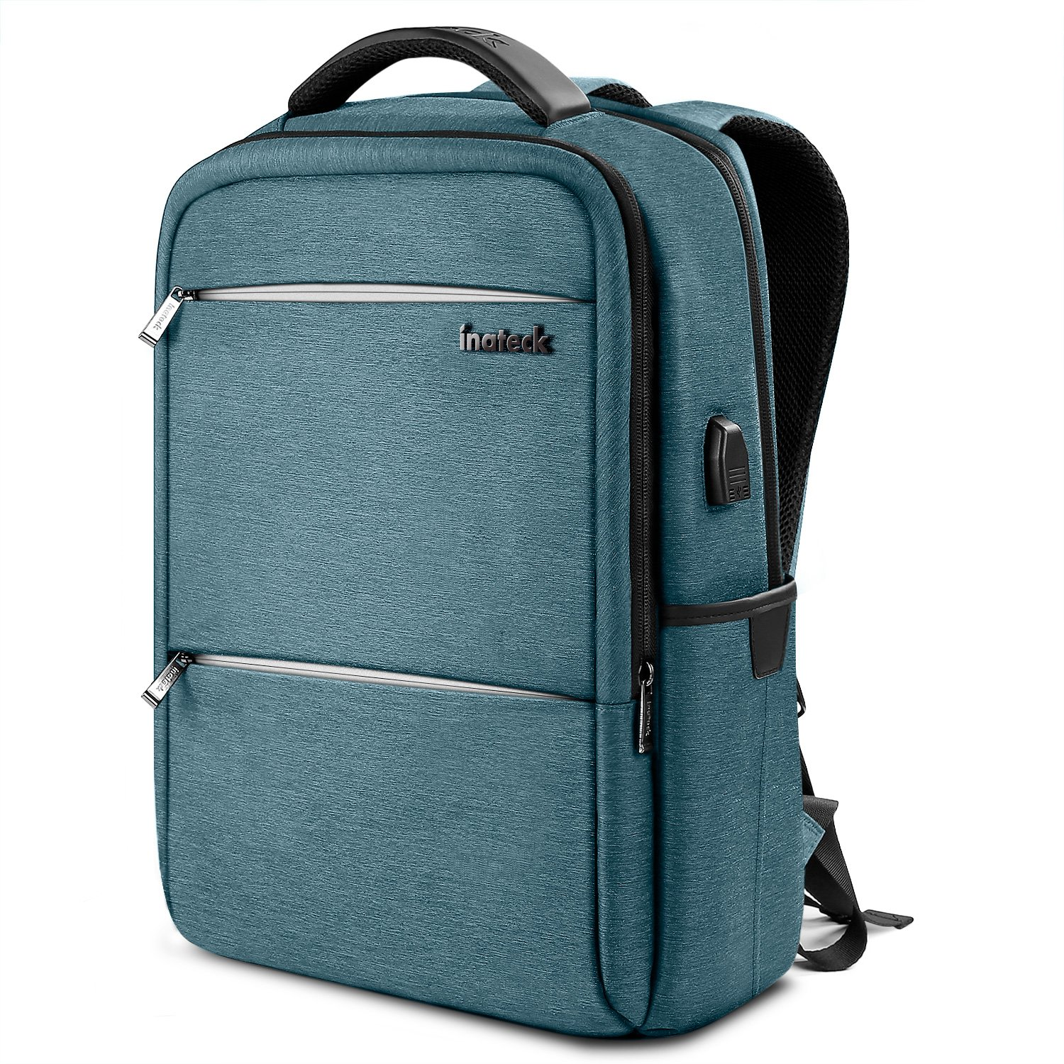 Inateck Anti-Theft School Business Travel Laptop Backpack Bag with USB Charging Port, Fits Up to 15.6'' Laptops, Rucksack with Waterproof Rain Cover and Luggage Belt - Blue