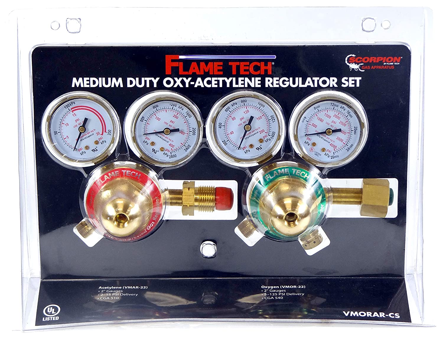 Image of Arc Welding Equipment FlameTech VMORAR-CS Oxy-Fuel Medium Duty Regulator Set, Victor Compatible