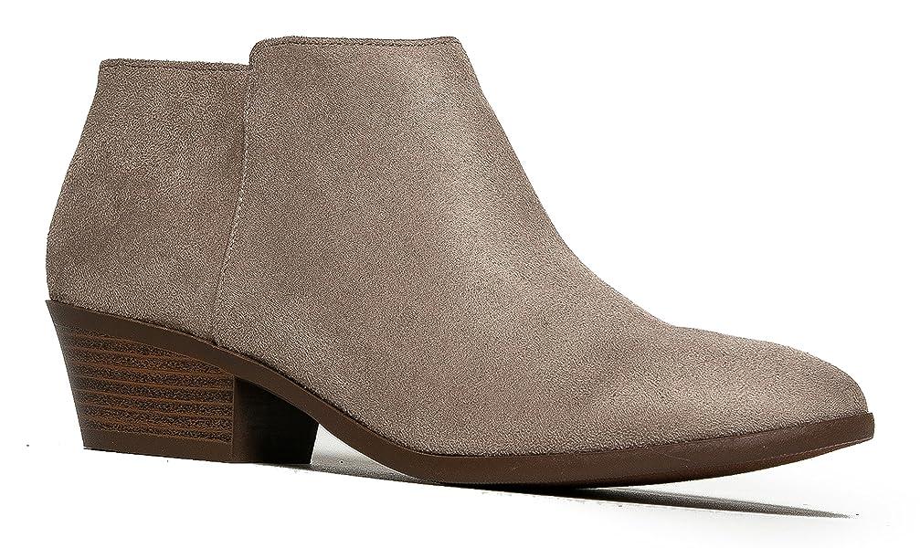 J. Adams Women's Lexy Comfortable Closed Toe Low Heel Western Ankle Bootie Shoe