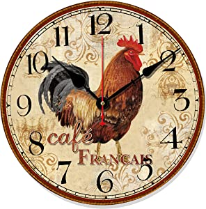 "Telisha Retro Design Large Clock Rooster Chicken Cafe Home Decorative Wall Clock Wood 34CM 14"" Non-Ticking Silent Quiet"