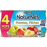 Nestlé Bébé Naturnes Pommes Pêches - Compote dès 4 - 6 Mois - 4 x 130g - Lot de 3