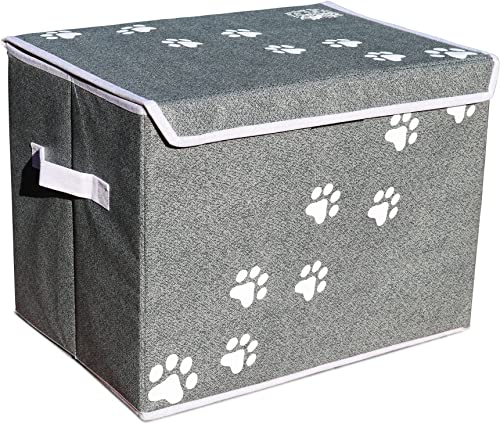Feline Ruff Large Dog Toys Storage Box. 16 x 12 inch Pet Toy Storage Basket with Lid. Perfect Collapsible Canvas Bin for Cat Toys and Accessories Too