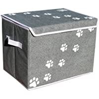 "Feline Ruff Large Dog Toys Storage Box 16"" x 12"" Pet Toy Storage Basket with Lid. Perfect Collapsible Canvas Bin for Cat Toys and Accessories Too! (Gray)"