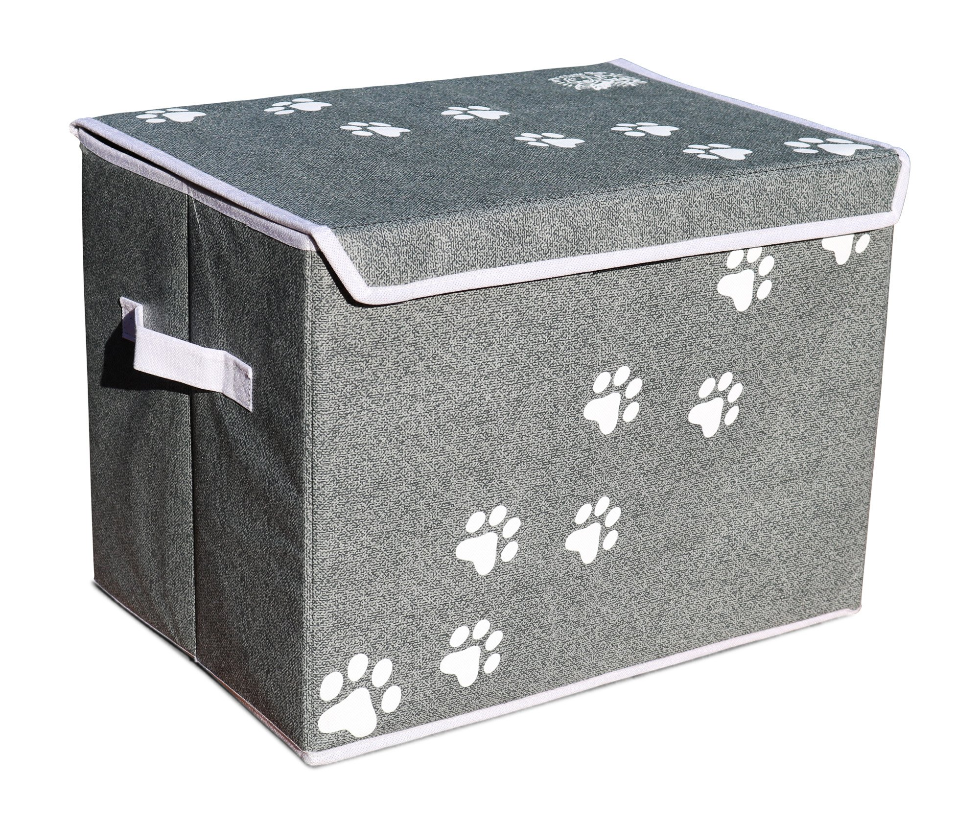 Feline Ruff Large Dog Toys Storage Box 16″ x 12″ Pet Toy Storage Basket with Lid. Perfect Collapsible Canvas Bin for Cat Toys and Accessories Too! (Gray)