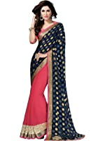 Shonaya Georgette Saree (Hiimx-6019_Lightcoral & Blue)