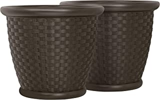 "product image for Suncast 22"" Sonora Resin Wicker Planter Contemporary Lightweight Flower Pot for Indoor and Outdoor Use, Home, Yard, or Garden, Set of 2, Java"