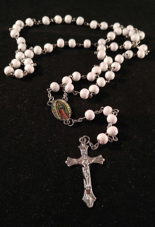 Virgen De Guadalupe Rosarios Blancos De Madera Para Recuerdos De Bautizoprimera Comunion 12 Piezas Baptismmy First Communion Our Virgen Of Guada