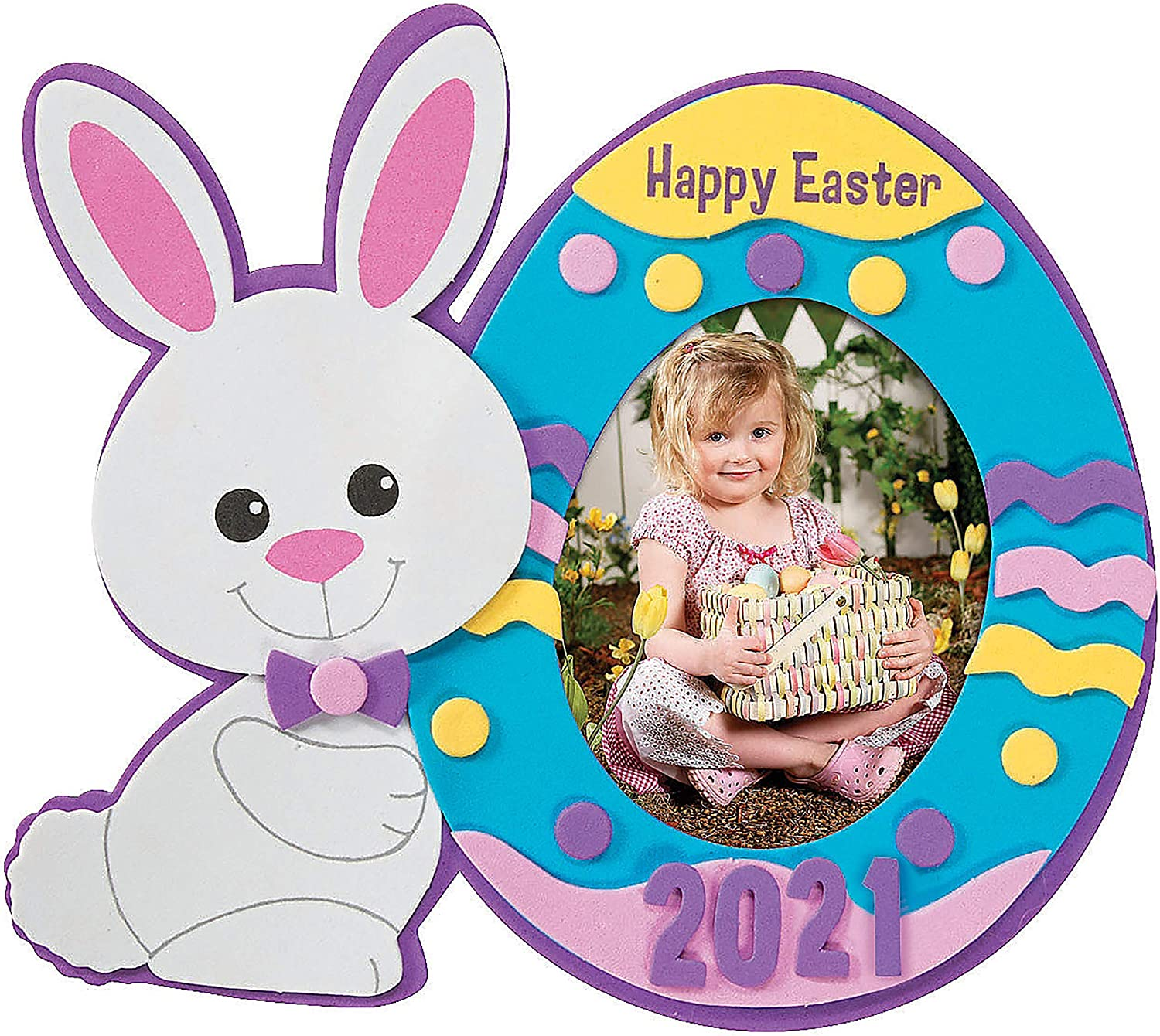 Makes 12 2021 Dated Picture Frame Magnet Craft Kit 4Es Novelty Easter Craft for Kids Mess Free Self Adhesive Foam Craft
