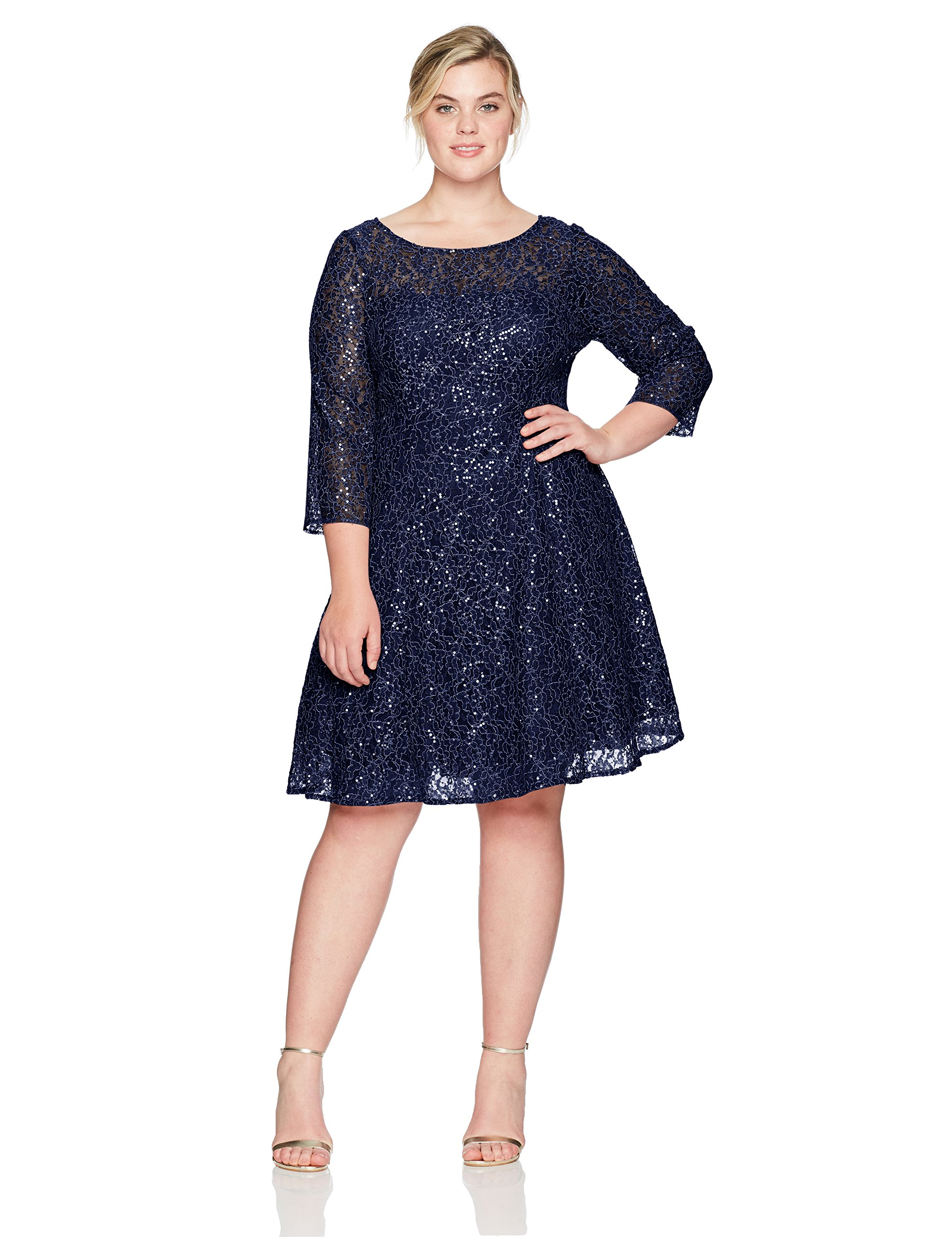S.L. Fashions Women's Plus Size Lace and Sequin Fit and Flare Dress, Navy, 14W