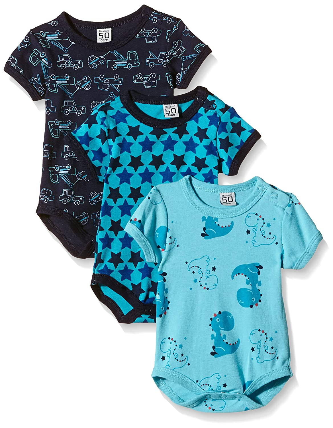 Care Baby Boys Bodysuit, Shortsleeve, 3-Pack 4133