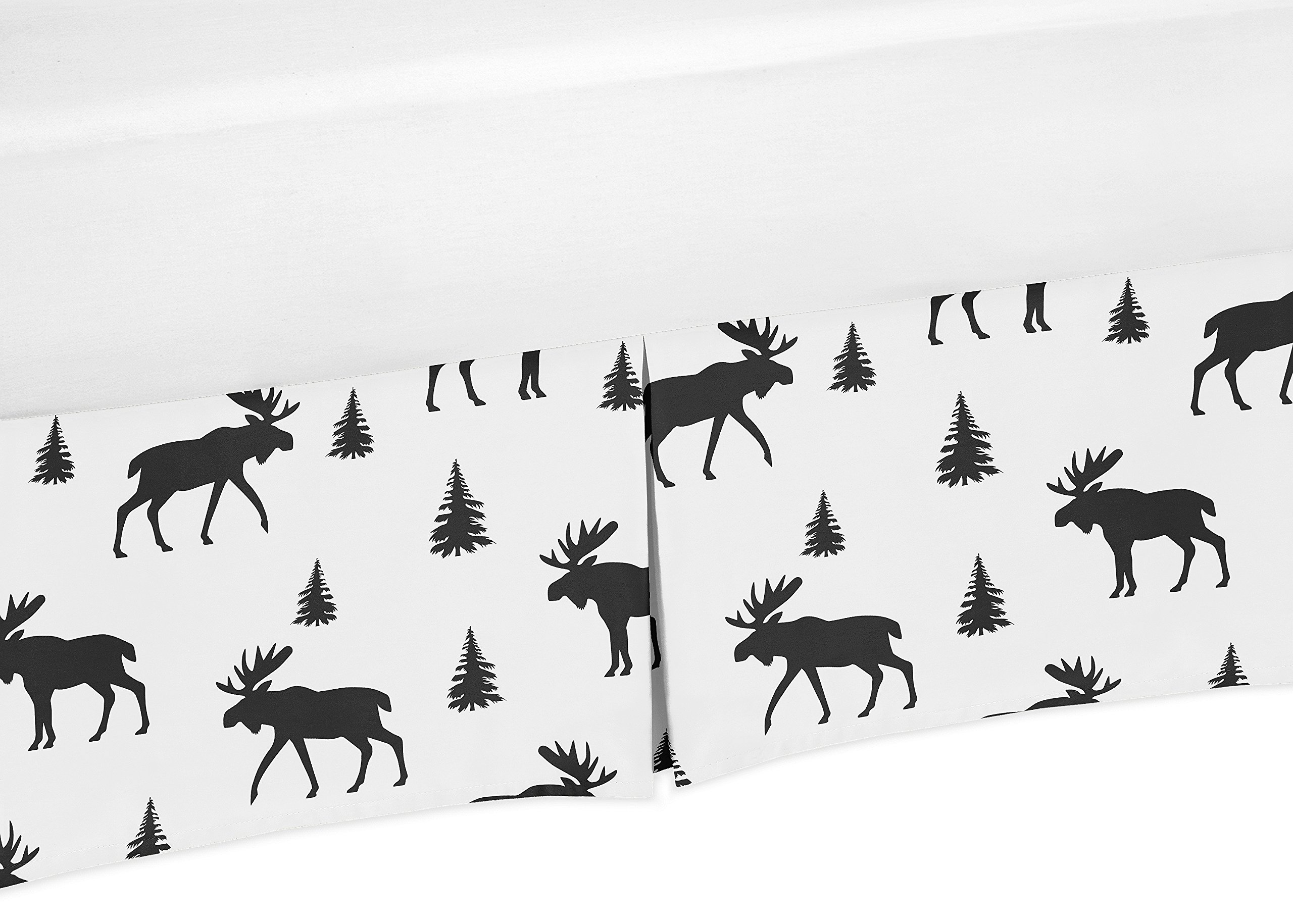 Sweet Jojo Designs Black and White Woodland Moose Pleated Toddler Bed Skirt Dust Ruffle for Rustic Patch Collection