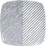 白山陶器 反角中皿 青 (約)16.5×16.5×2.8cm  重ね縞 KASANEJIMA 波佐見焼 日本製