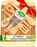 ♻ With 6-Piece Wooden Spoons, Extra Large 18x12 Organic Bamboo Cutting Board, Best, Wedding or Housewarming Gift, Wood Chopping Block with Grooves, Kitchen Utensil, Spatula & Onion Holder