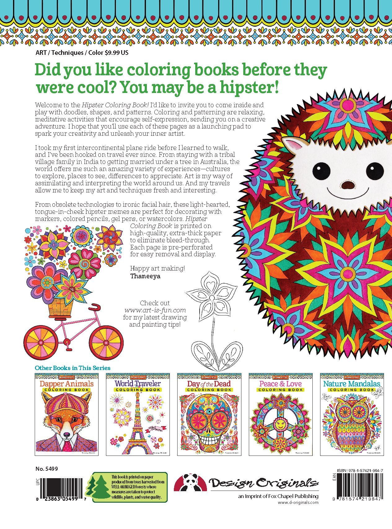 Hipster Coloring Book Design Originals Thaneeya McArdle 8601419687107 Amazon Books