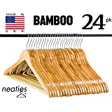 Natural Bamboo Wood Hangers w/ Notches and Non-Slip Bar for Eco-Friendly Closet, Highest Quality Bamboo Hangers, VALUE set of 24